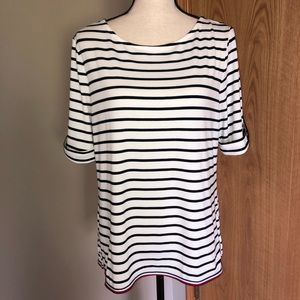 Tommy Hilfiger Striped Elbow Length Sleeve Top